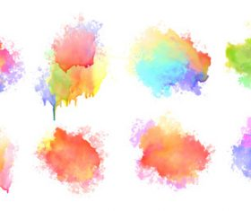 Isolated watercolor splatter stain colorful vector