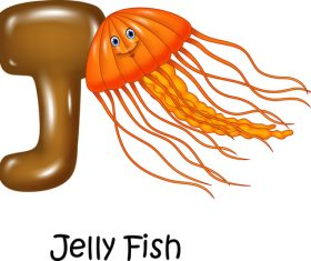 Jelly fish and alphabet vector