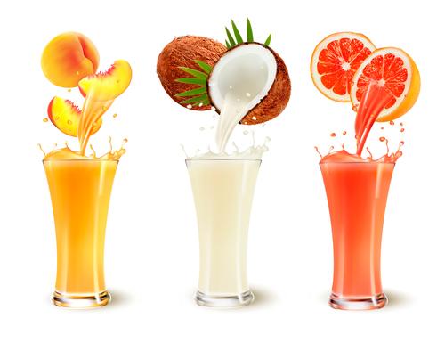 Juice in fruit vector