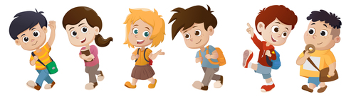 Kid go to school All cartoon vector