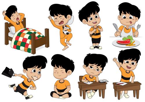 Kids daily life cartoon vector