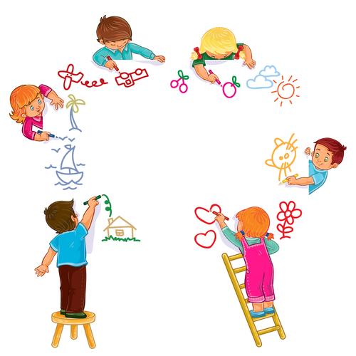 Kids drawing vector
