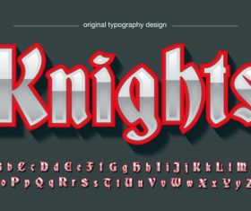 Knights typography graphic style vector text effect