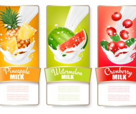 Labels with fruit and splash of milk vector
