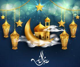 Lantern and Crescent eid mubarak background vector