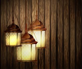 Lantern and wood board background vector