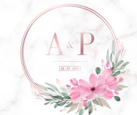 Latest rose gold round frame wedding invitation card design vector