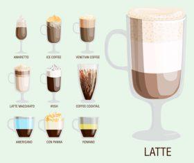 Latte coffee vector