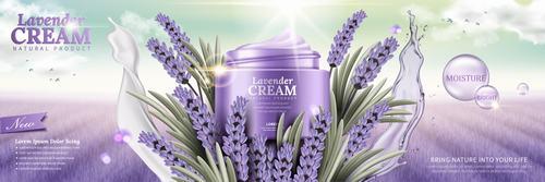 Lavender skin care cosmetics advertisement vector