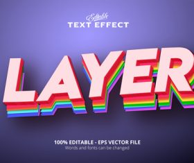 Layer text effect modern neon pink style vector
