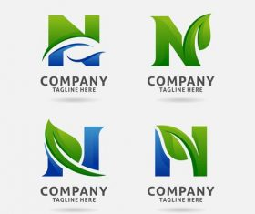 Letter N leaf logo design vector
