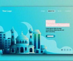 Light blue login website page design vector