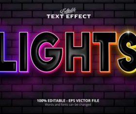 Lights text effect vector