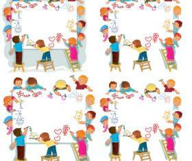 Little painter cartoon vector