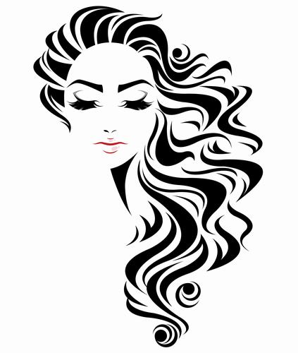 Long curly hair styling girl vector