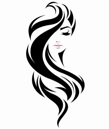 Long flowing hair girl vector