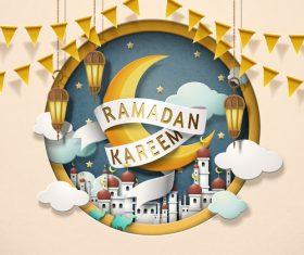 Lovely ramadan kareem in paper art style vector