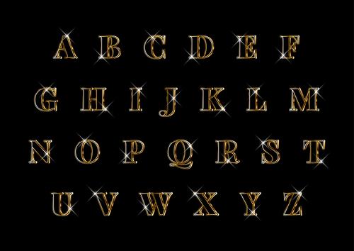 Luxury elegant 3d gold alphabets set vector