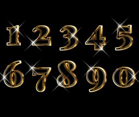 Luxury elegant 3d gold numbers set vector