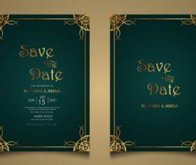 Luxury modern wedding invitation vector card with golden decoration