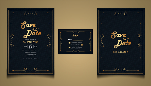 Luxury modern wedding invitation vector card