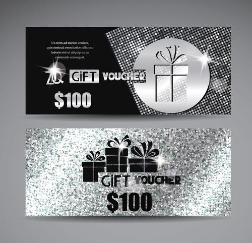 Luxury silver gift voucher vector