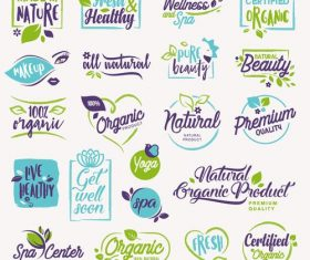 Made in nature beauty badges vector