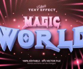 Magic world text effect vector