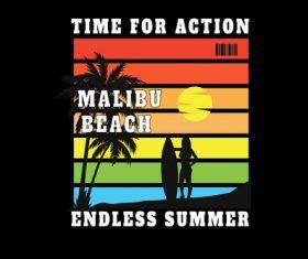 Malibu beach endless summer vector