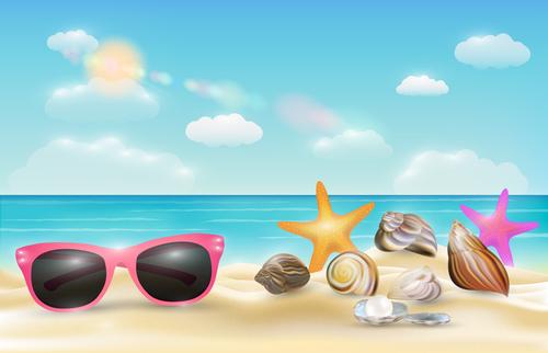 Marine summer backgrounds vector