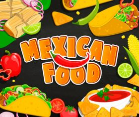 Mexican food stickers vector