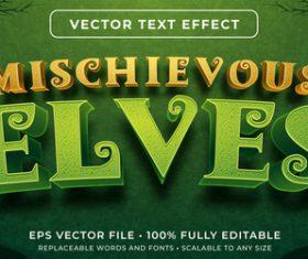 Mischievous elves editable font effect text vector