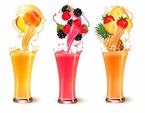 Mix different flavors fresh juice vector