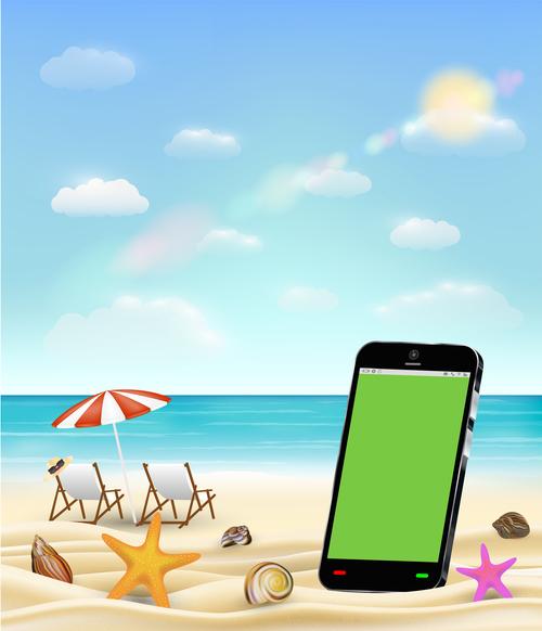 Mobile phone vector on the beach