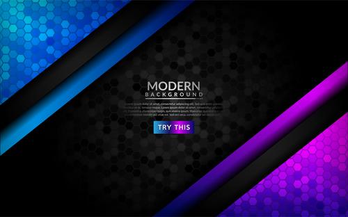 Modern 3d dark background vector