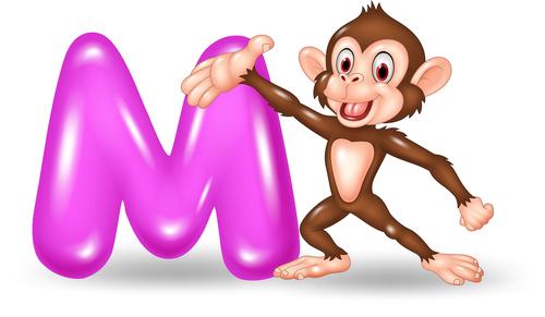 Monkey and alphabet vector