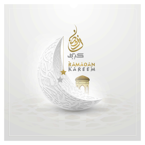 Mosque background card vector