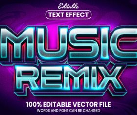 Music remix text font style vector