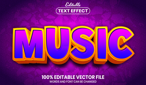 Music text font style vector