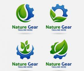 Nature gear logo design vector