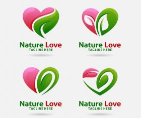 Nature love logo design vector