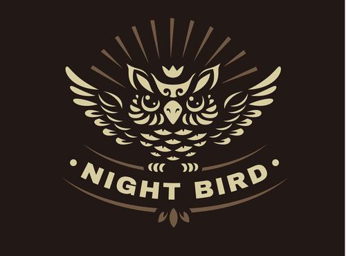 Night bird logo vector
