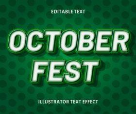 October fest editable text vector