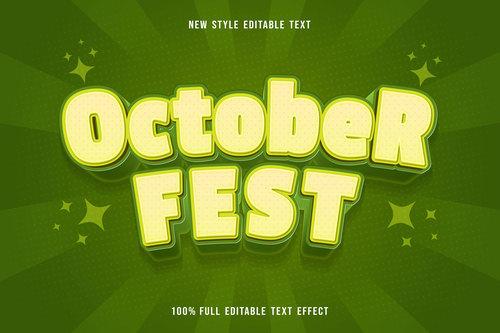 October fest new style editable text vector