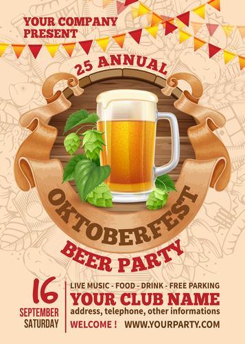 Oktoberfest beer party vector