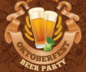 Oktoberfest party invitation card vector