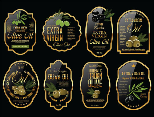 Olive oil retro vintage background collection vector