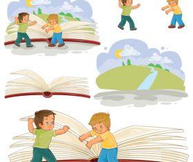 Open book cartoon vector