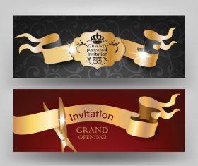 Opening ribbon cutting invitation card vector