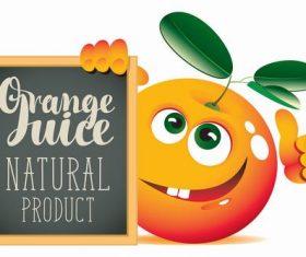 Orange cartoon with text in blackboard vector